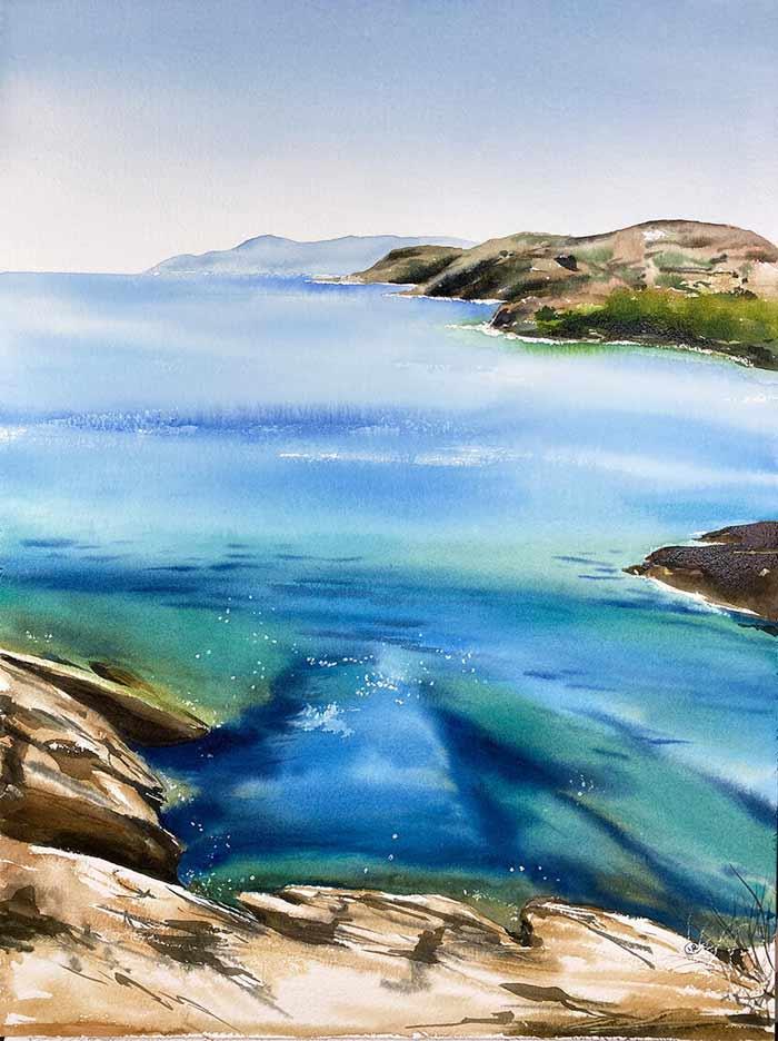Seascape art with watercolor by Maria Raczynska