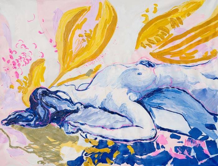 Abstract woman figure painting by Nichapha Trongsiri