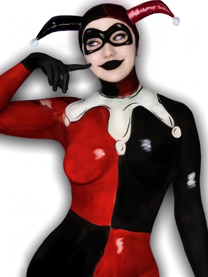 Harley Quinn full body painting Celine Cruz