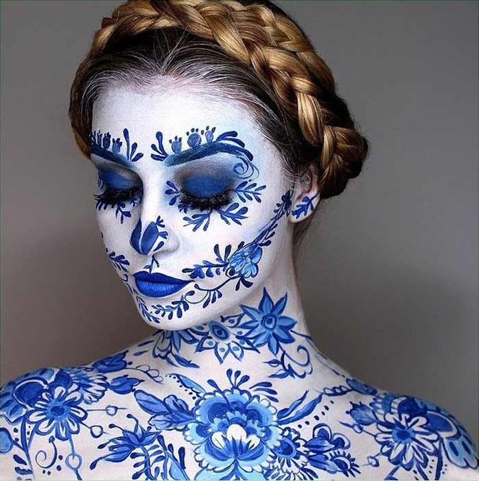 Dutch delft design body painting by Paige Marie