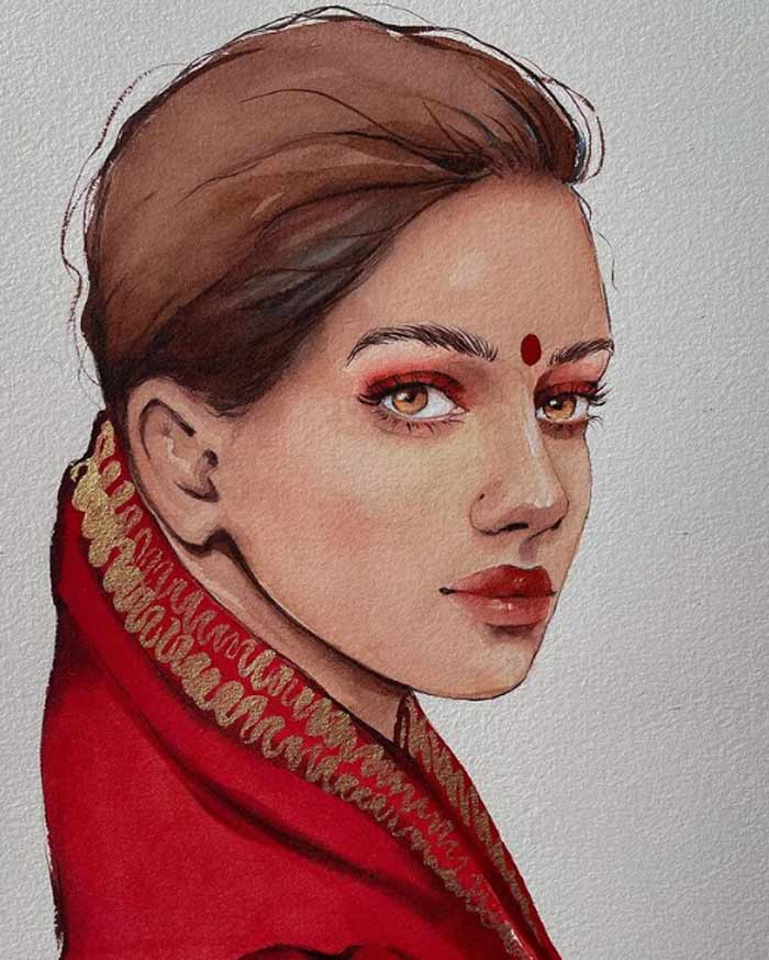 Beautifully Painted Indian Girl