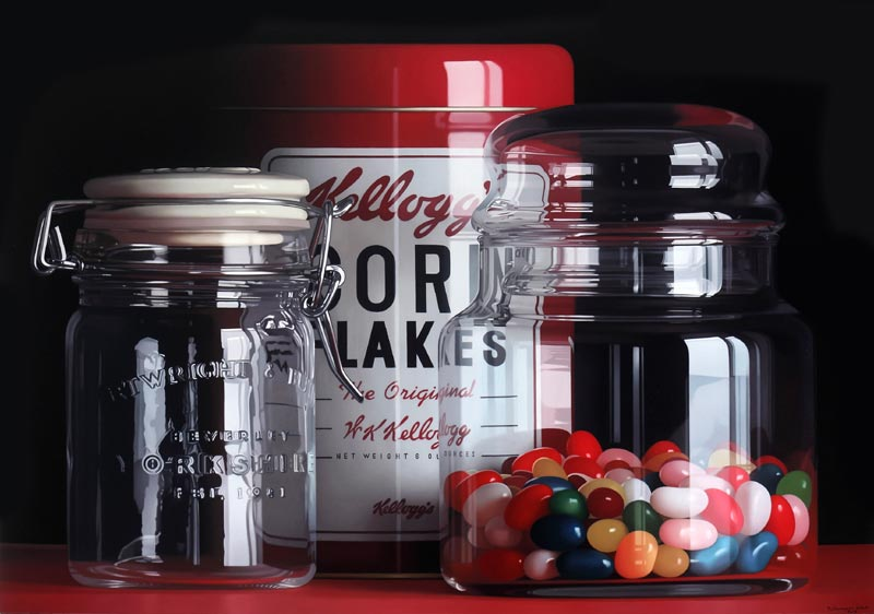 Jellybeans glass hyperrealist painting by Pedro Campos
