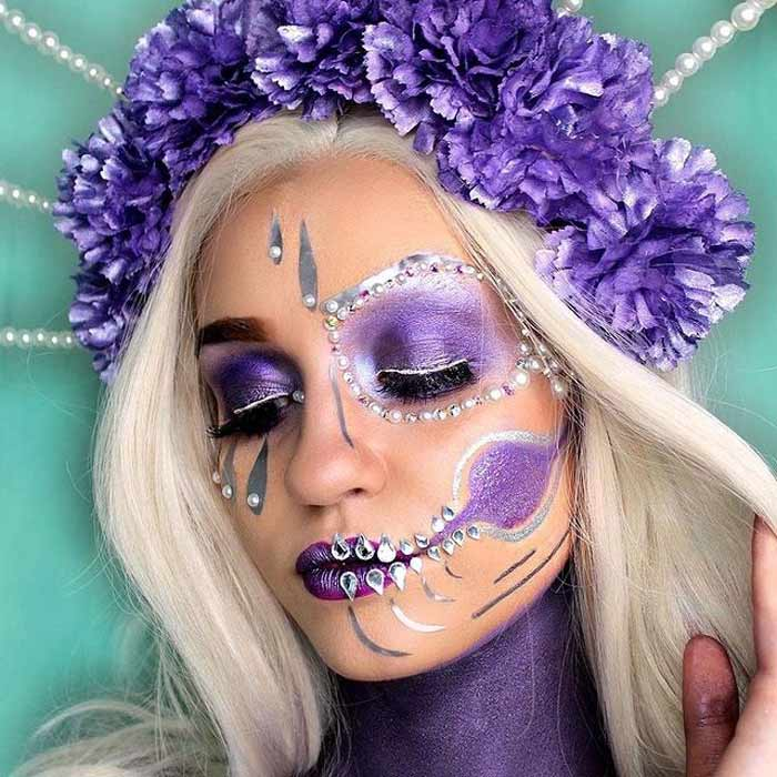 Purple sugar skull makeup art by Paige Marie