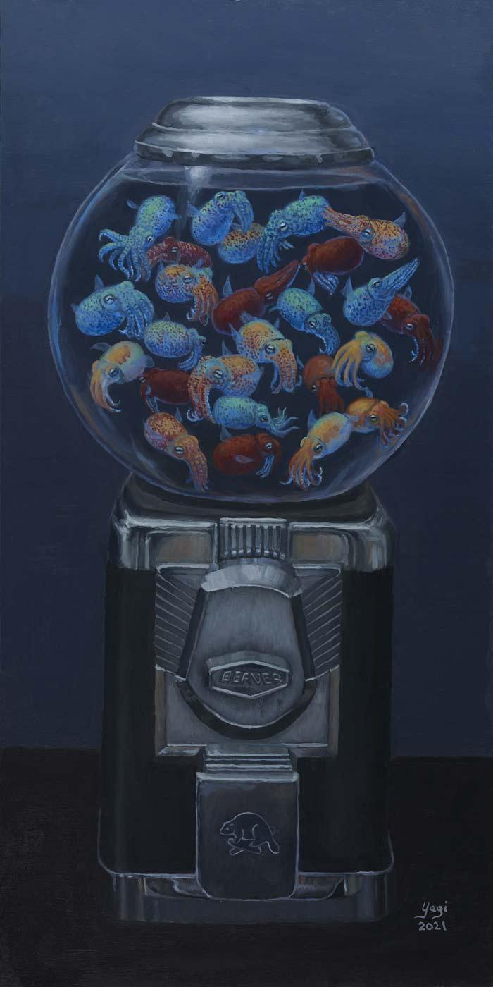 Yagi bubble gum machine surreal art