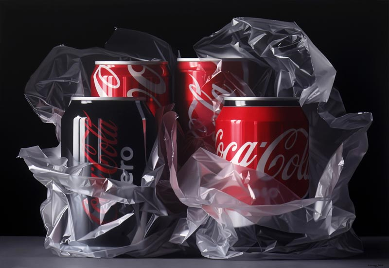Cocacola can hyperrealism painting by Pedro Campos