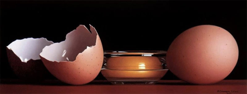 Eggs stilllife photorealism painting by Pedro Campos