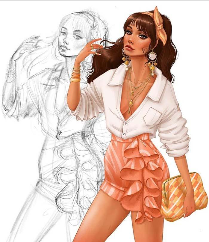 fashion figure drawing by Tess