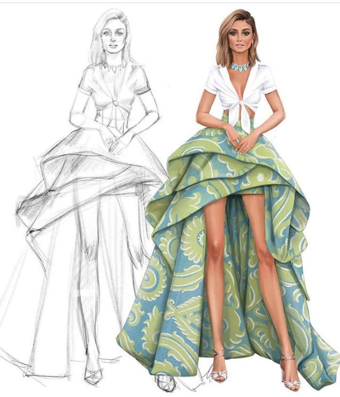 fashion dress drawing by Tess
