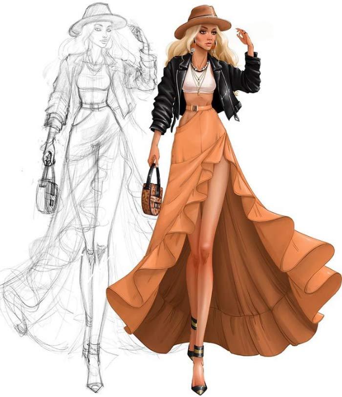 fashion drawing by Tess