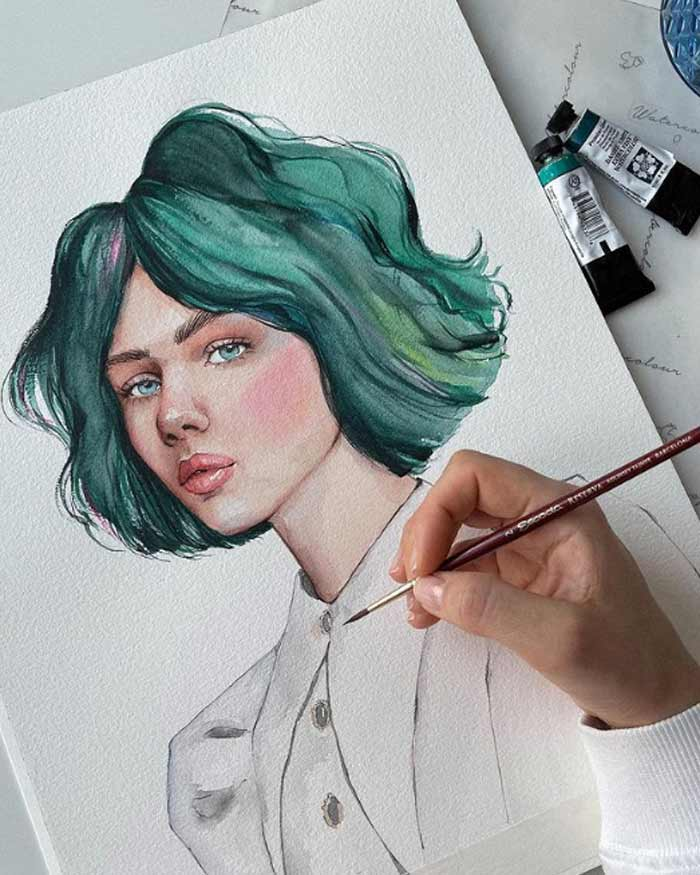 Girl portrait in watercolor by Victoria Kagalovska