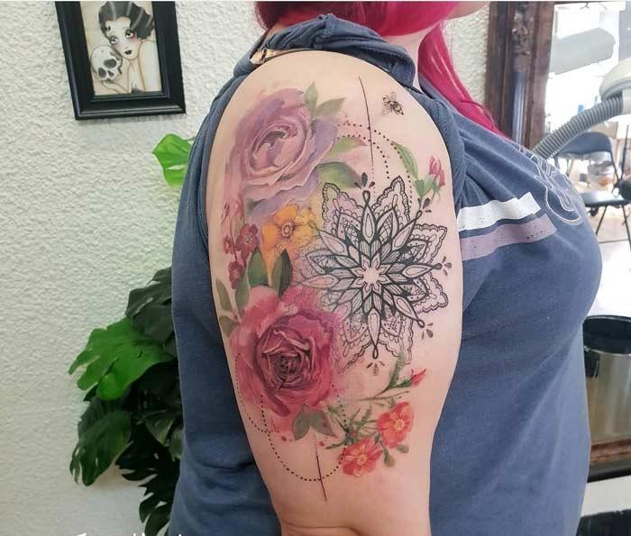 Flowers tattoo art design by Jess Hannigan