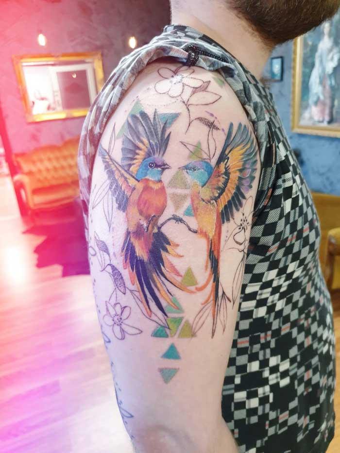 Stunning birds tattoo art by Jess Hannigan